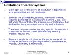 limitations of earlier systems