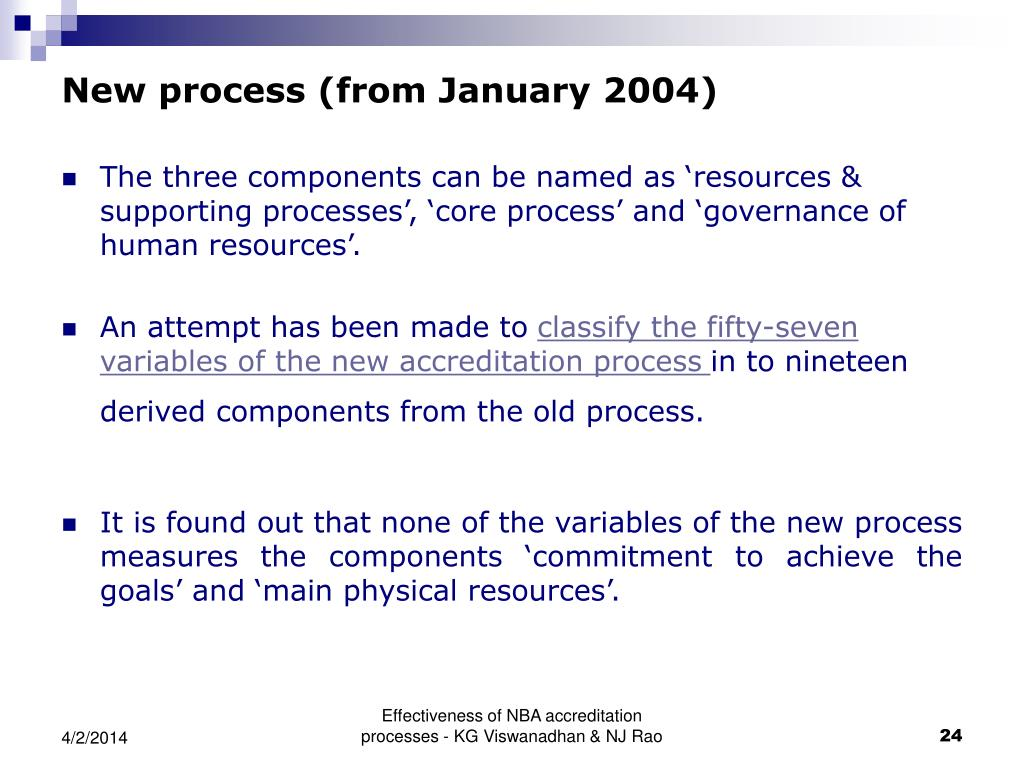 New process (from January 2004)