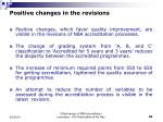 positive changes in the revisions