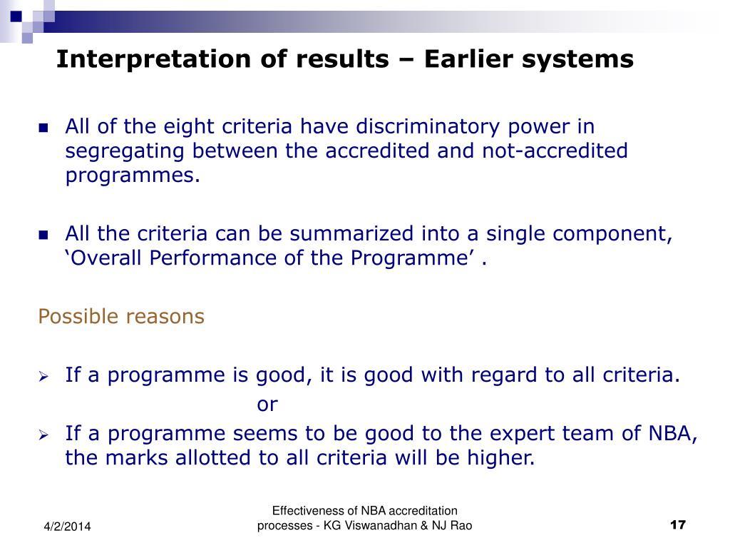 Interpretation of results – Earlier systems