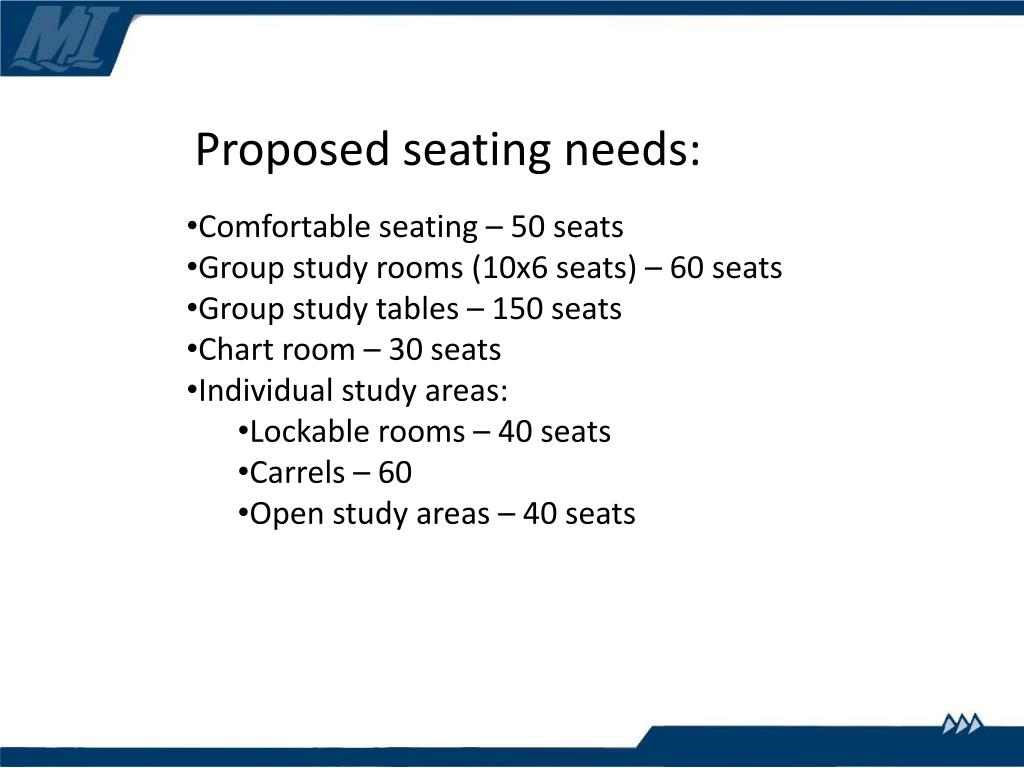 Proposed seating needs: