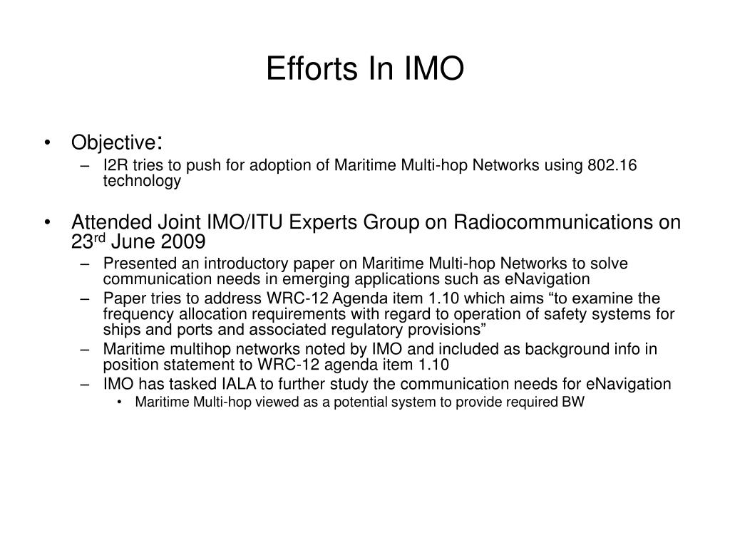 Efforts In IMO