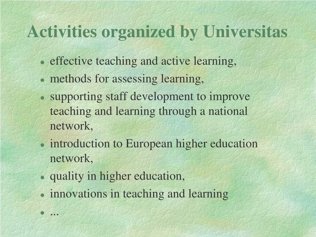 Activities organized by Universitas