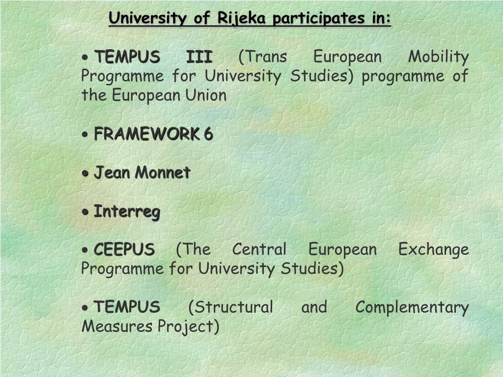 University of Rijeka participates in: