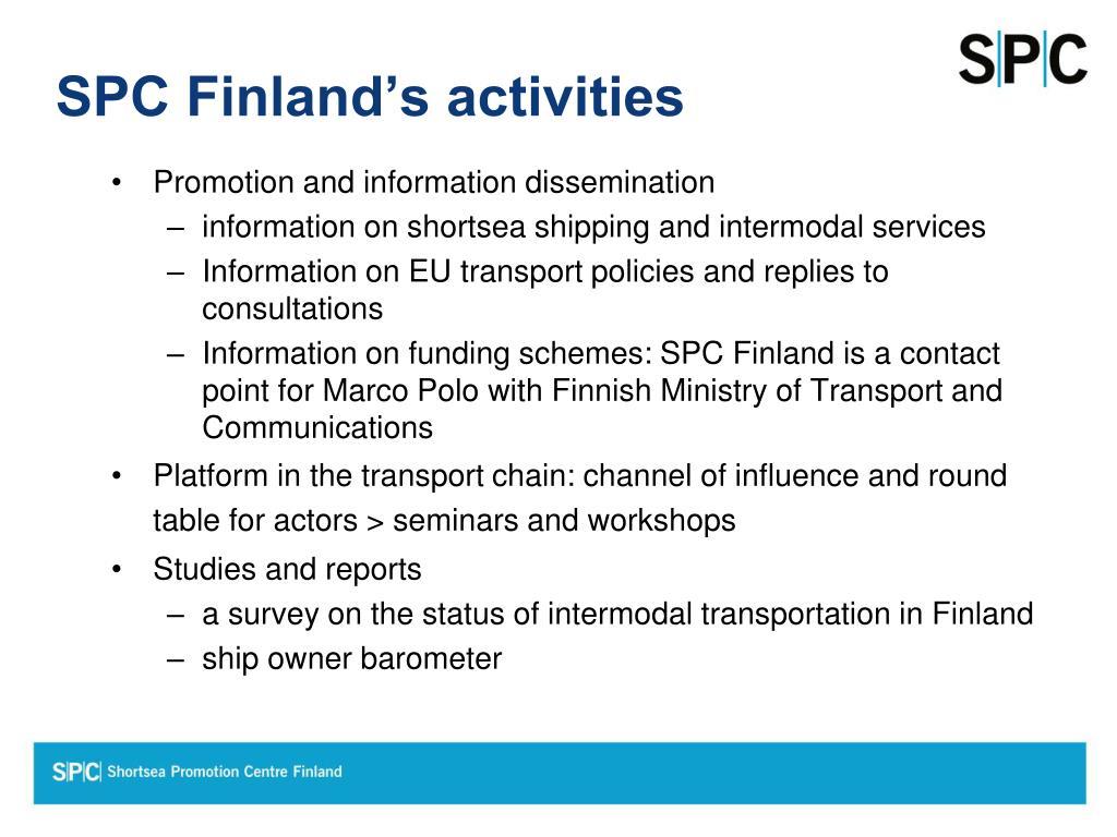 SPC Finland's activities