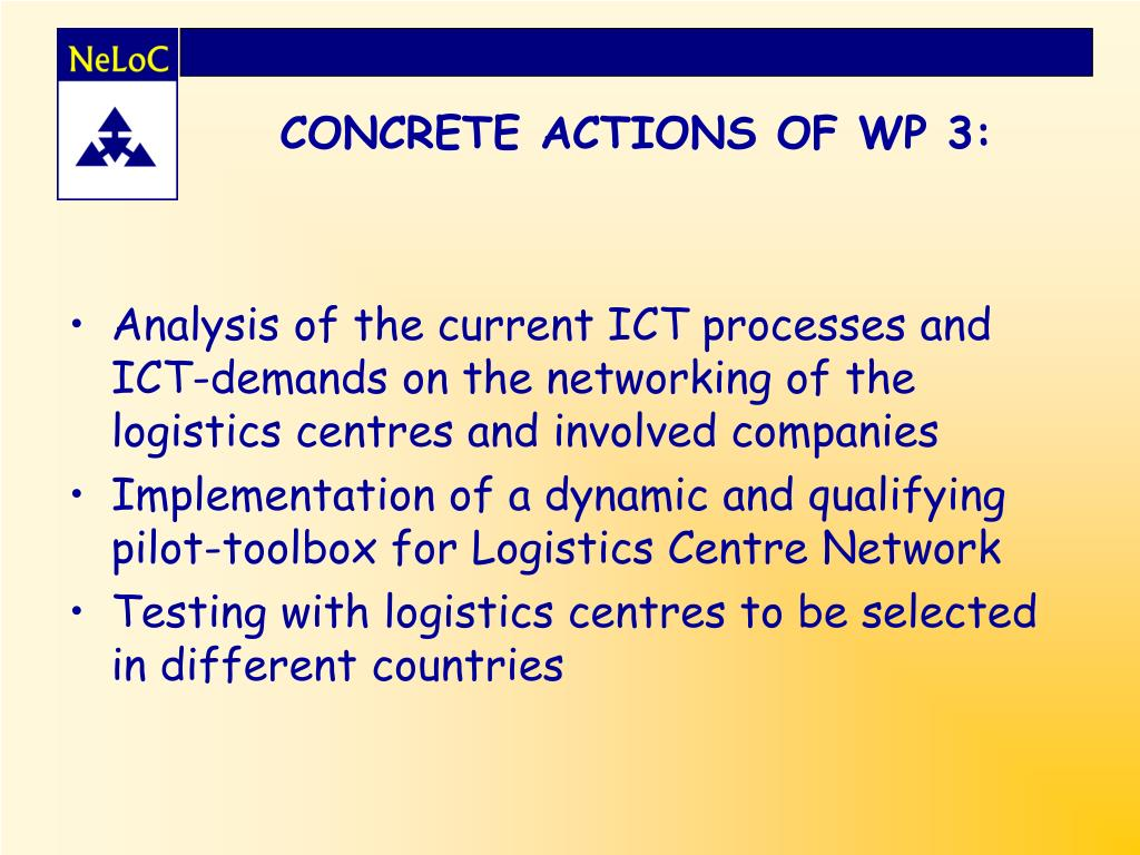 CONCRETE ACTIONS OF WP 3: