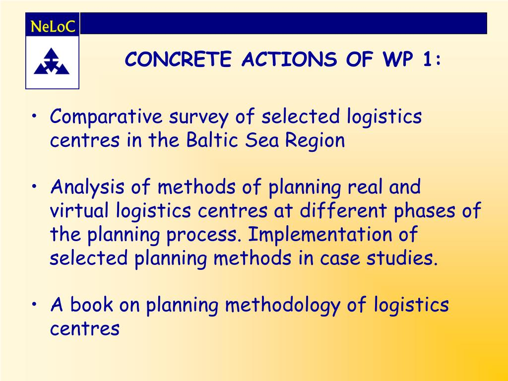 CONCRETE ACTIONS OF WP 1: