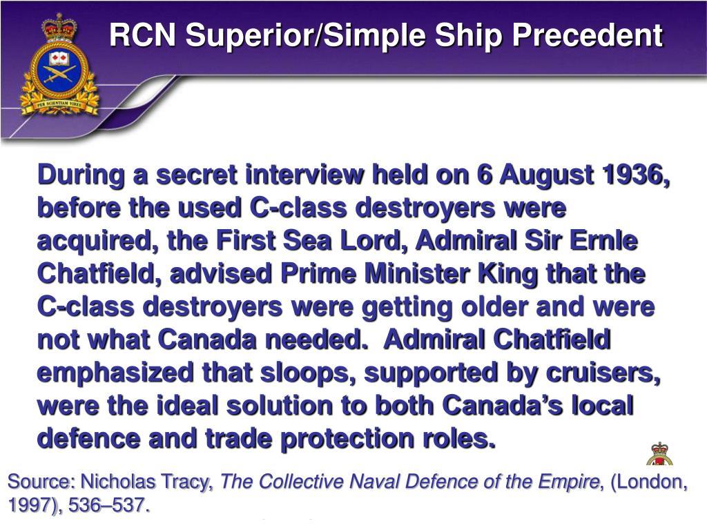 RCN Superior/Simple Ship Precedent