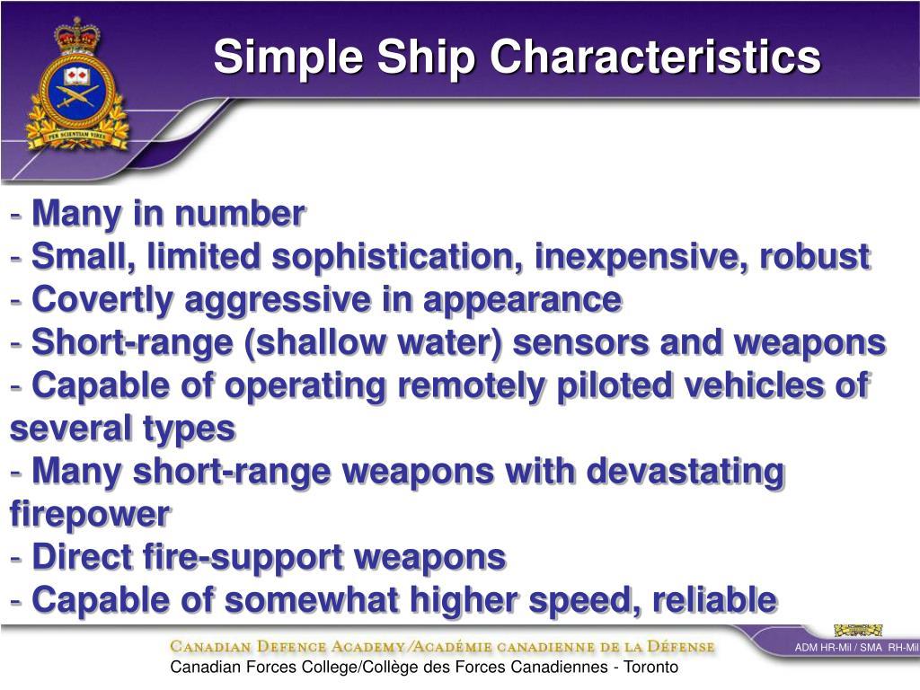 Simple Ship Characteristics