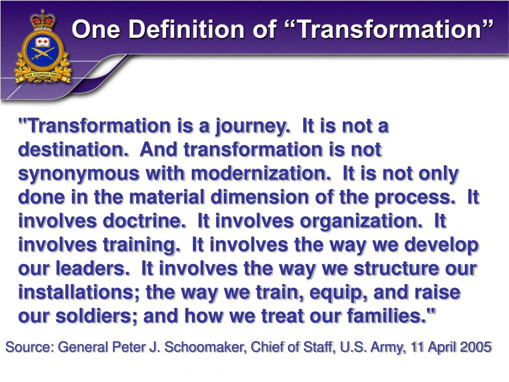 "One Definition of ""Transformation"""