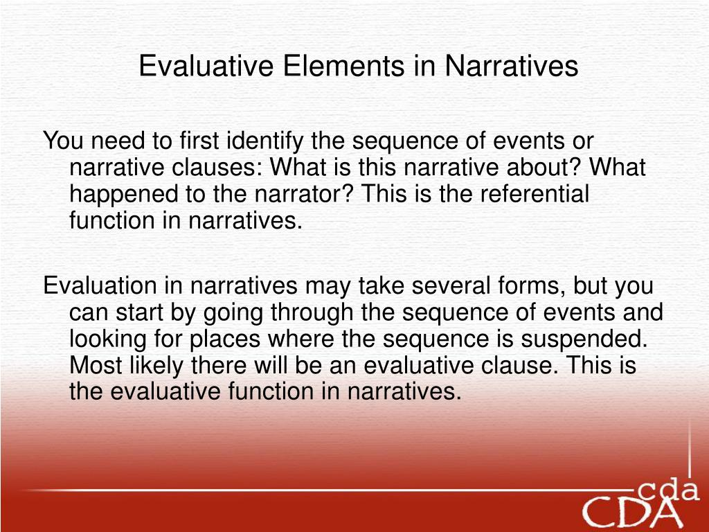 Evaluative Elements in Narratives