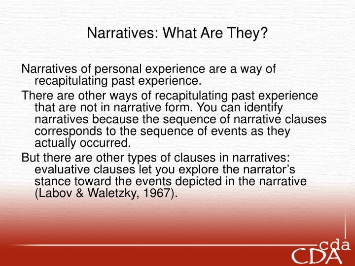 Narratives what are they