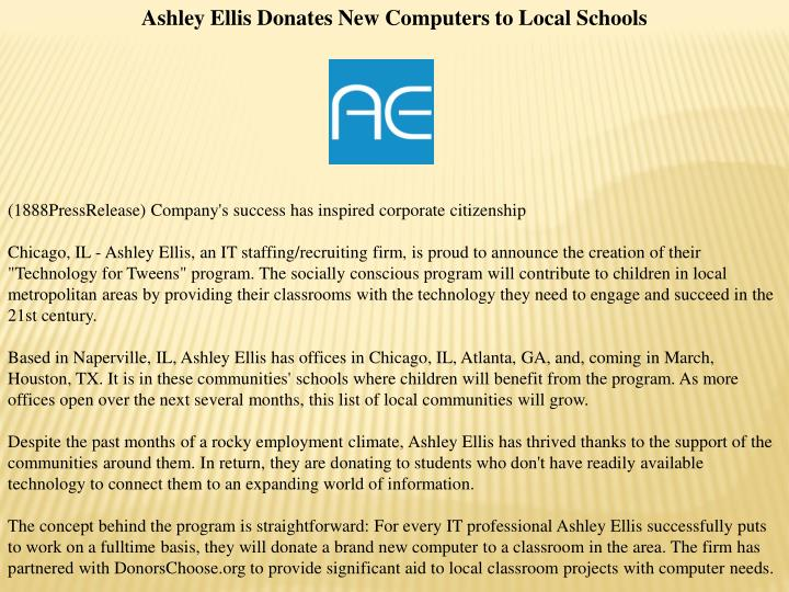 Ashley Ellis Donates New Computers to Local Schools