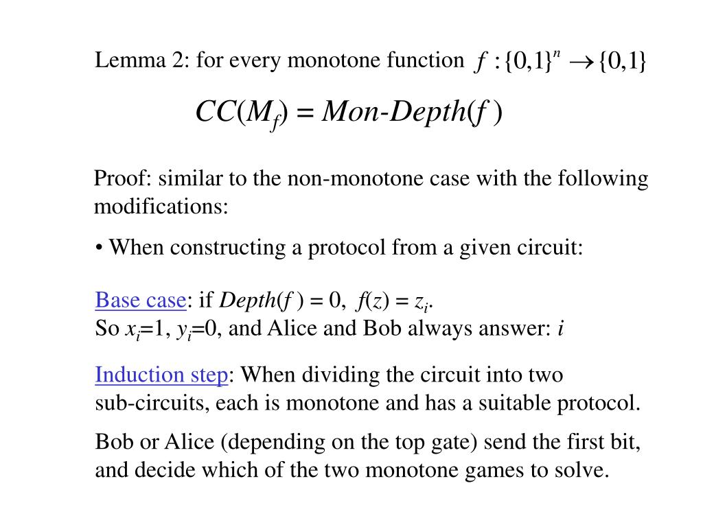 Lemma 2: for every monotone function