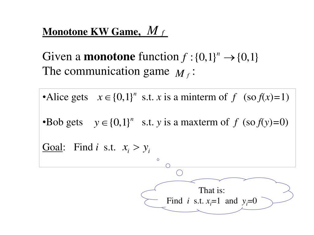 Monotone KW Game,