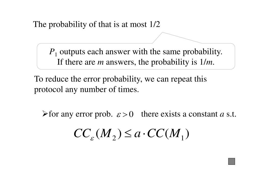 for any error prob.             there exists a constant