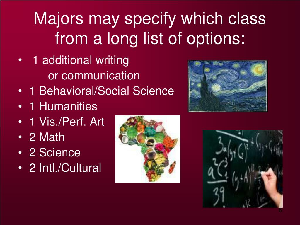 Majors may specify which class from a long list of options: