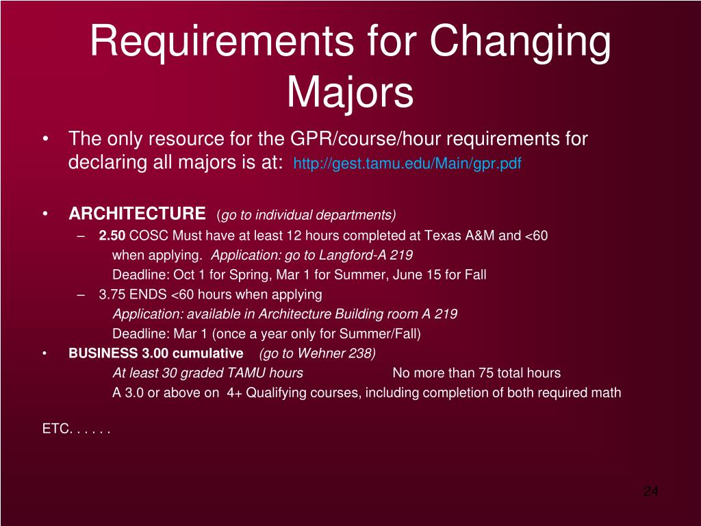 Requirements for Changing Majors