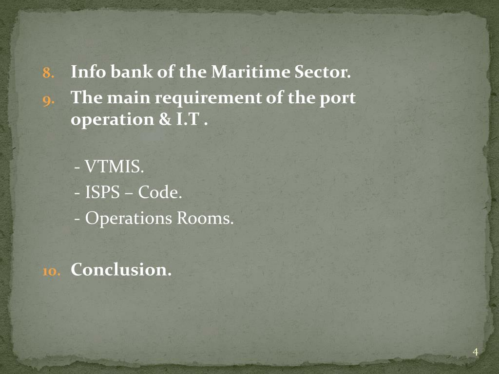 Info bank of the Maritime Sector.