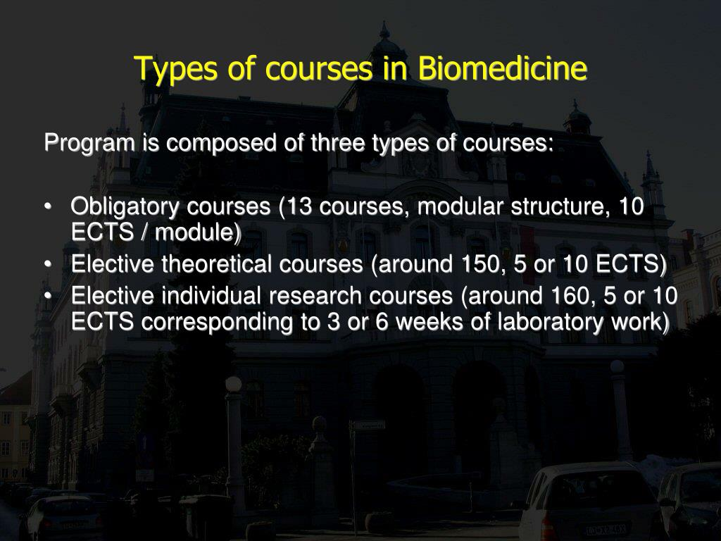 Types of courses in Biomedicine