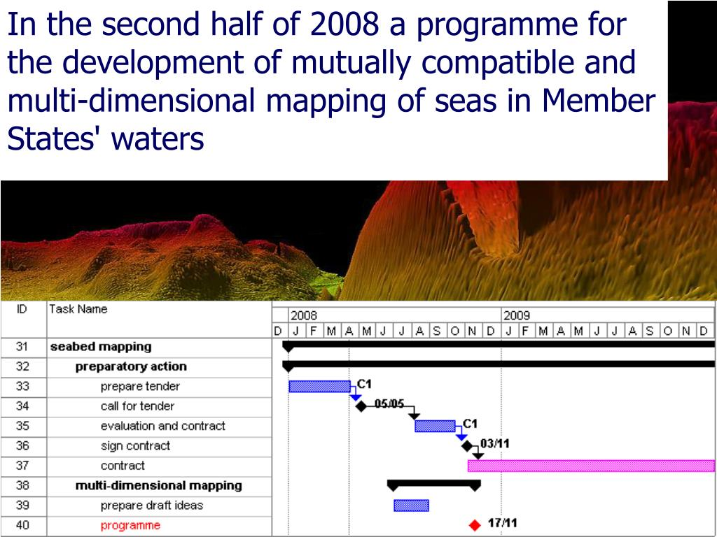 In the second half of 2008 a programme for the development of mutually compatible and multi-dimensional mapping of seas in Member States' waters