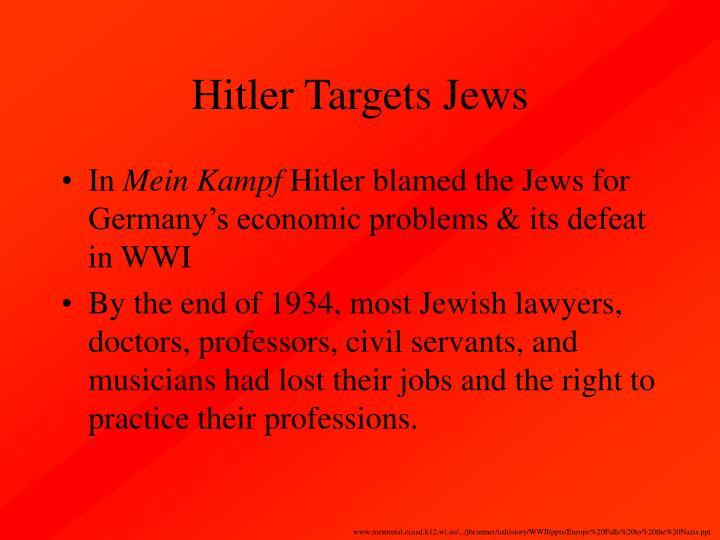 Hitler Targets Jews