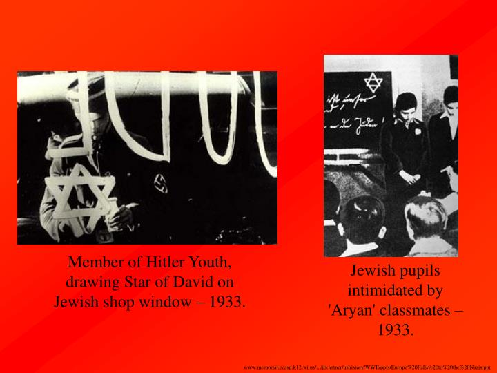 Member of Hitler Youth, drawing Star of David on Jewish shop window – 1933.