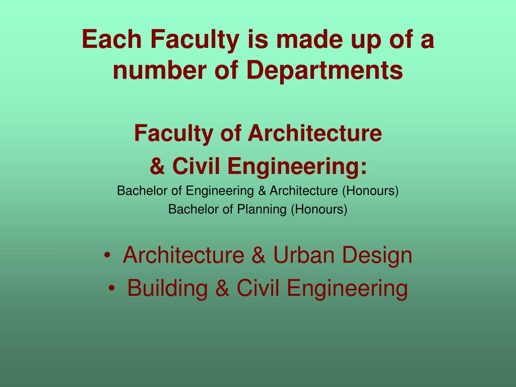 Each Faculty is made up of a number of Departments