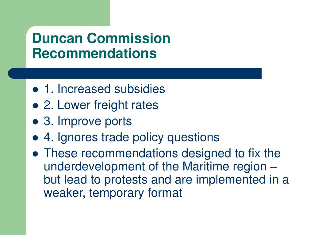 Duncan Commission Recommendations
