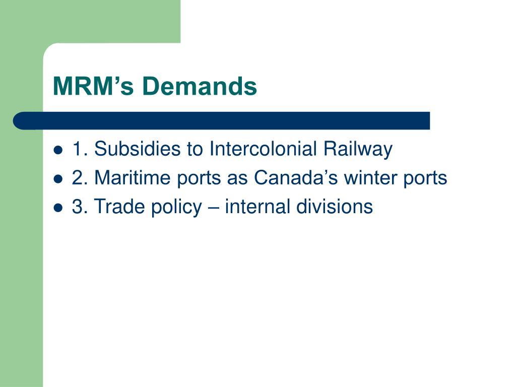 MRM's Demands