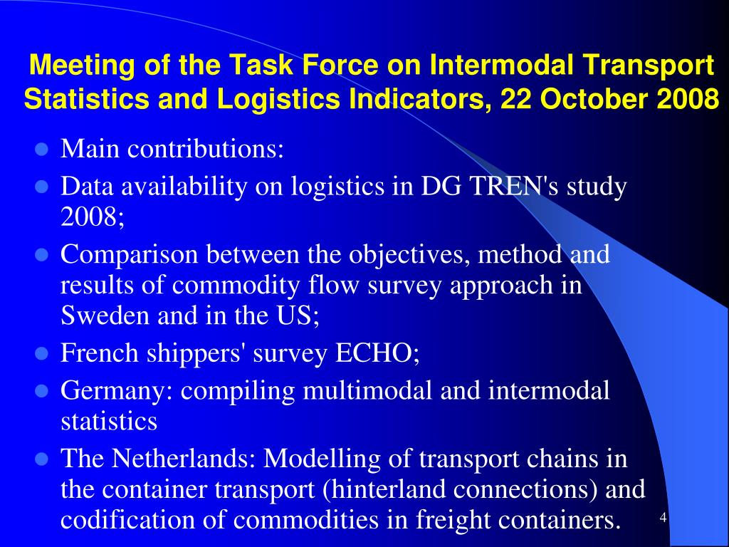 Meeting of the Task Force on Intermodal Transport Statistics and Logistics Indicators, 22 October 2008