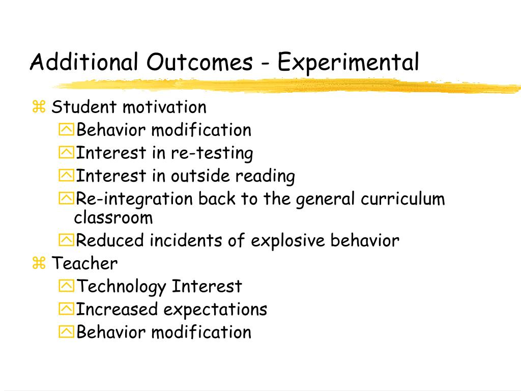 Additional Outcomes - Experimental