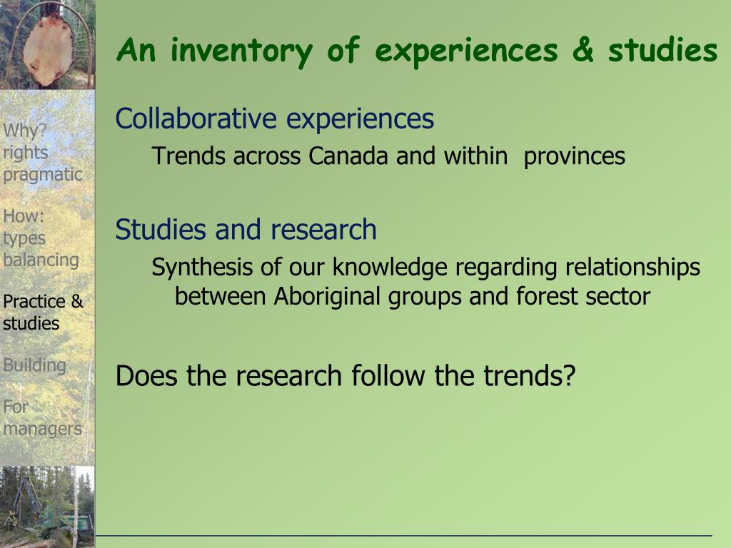 An inventory of experiences & studies