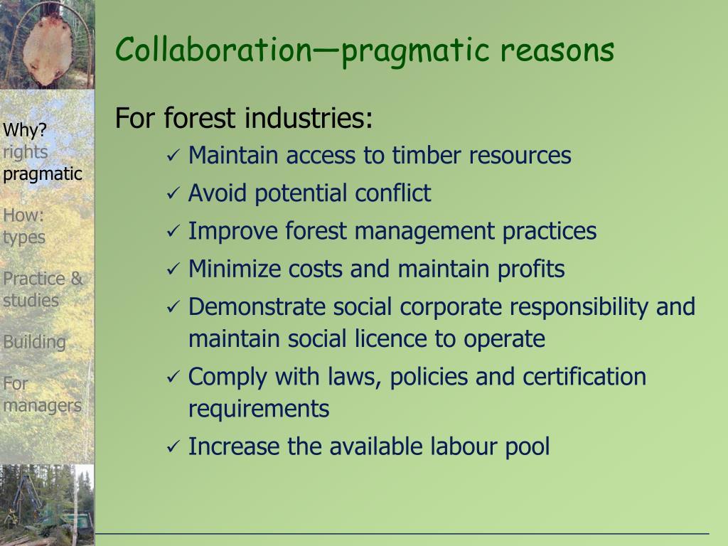 Collaboration—pragmatic reasons