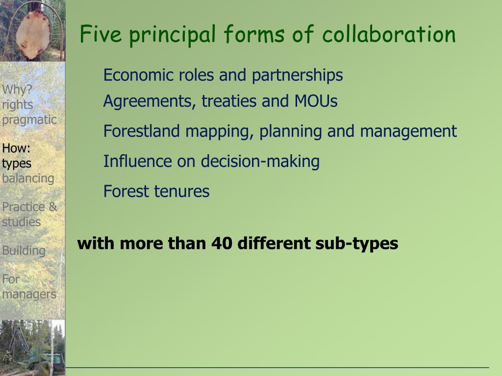 Five principal forms of collaboration