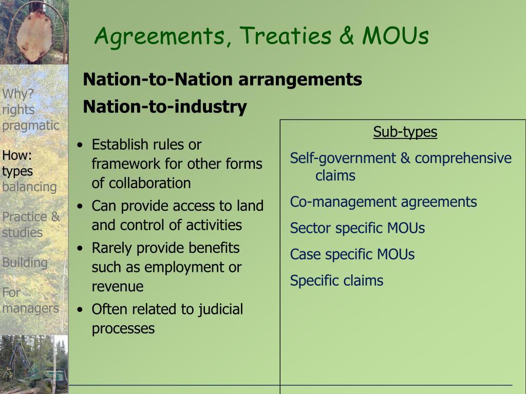 Agreements, Treaties & MOUs