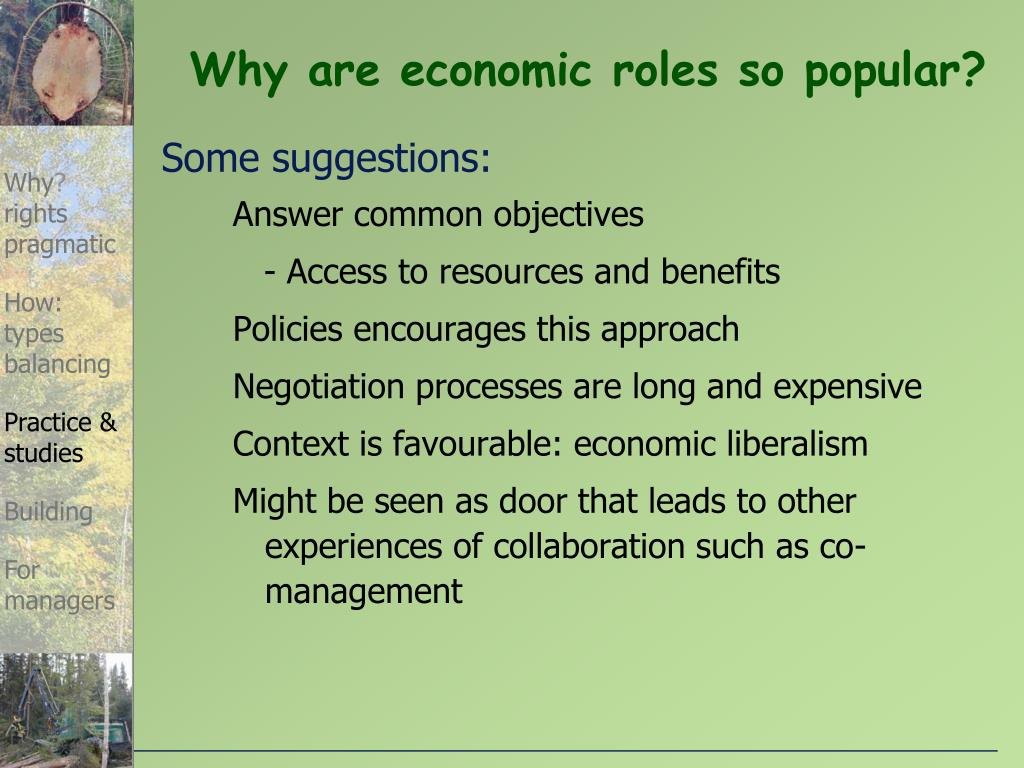 Why are economic roles so popular?