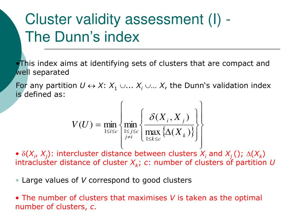 Cluster validity assessment (I) -