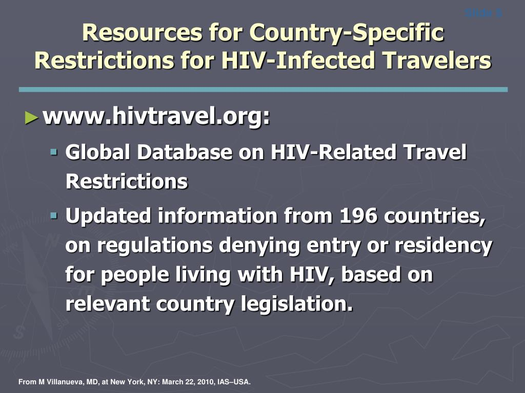Resources for Country-Specific Restrictions for HIV-Infected Travelers