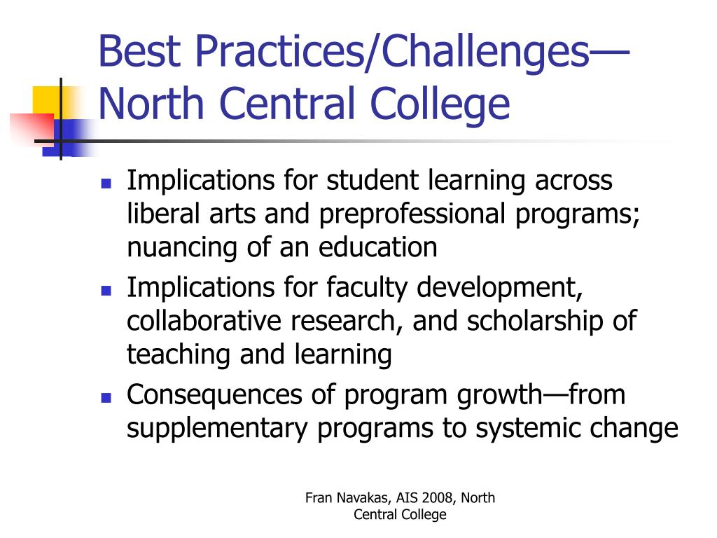 Best Practices/Challenges—North Central College