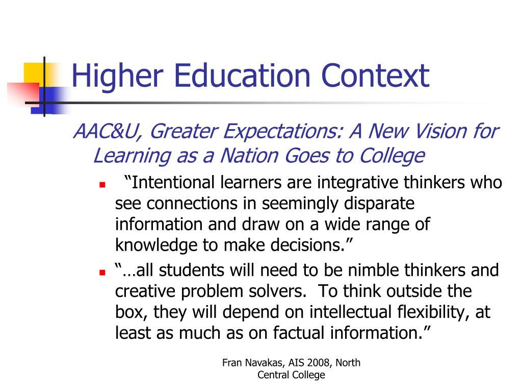 Higher Education Context