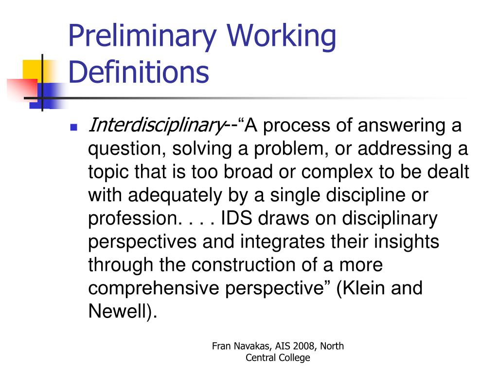 Preliminary Working Definitions
