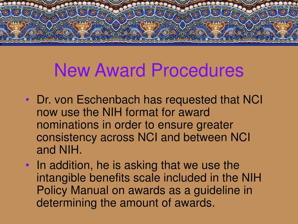 New Award Procedures