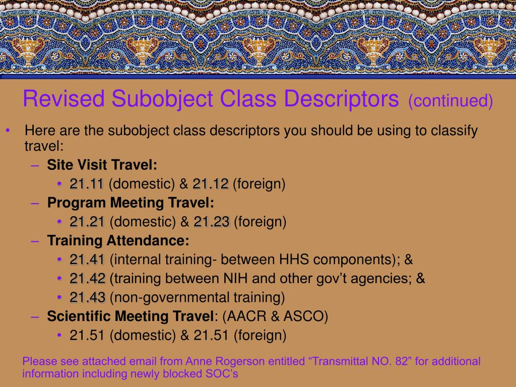 Revised Subobject Class Descriptors