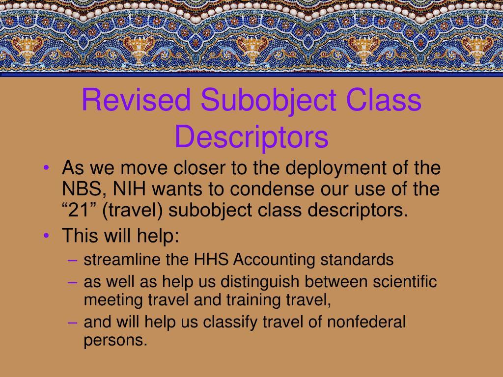 Revised Subobject Class Descriptors
