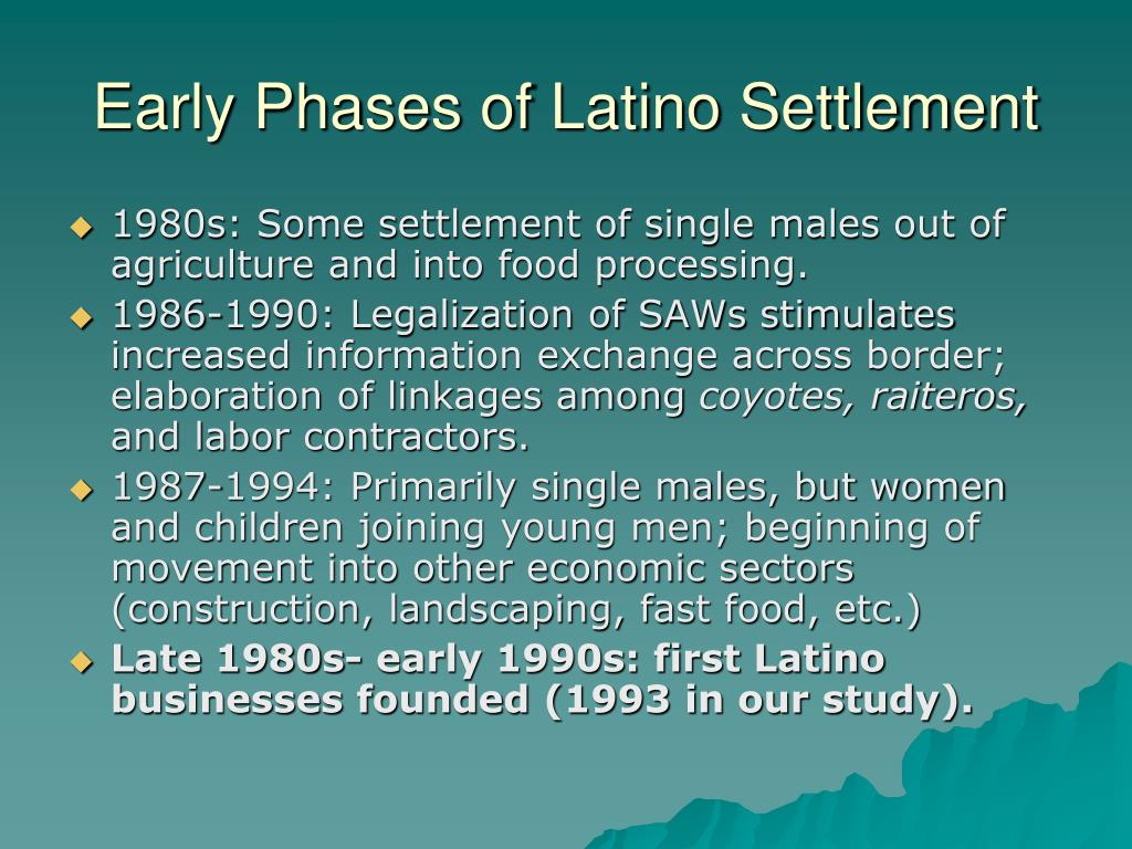 Early Phases of Latino Settlement