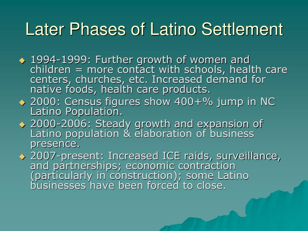 Later Phases of Latino Settlement