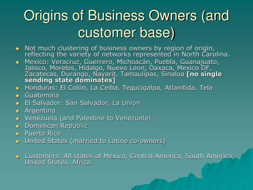Origins of Business Owners (and customer base)