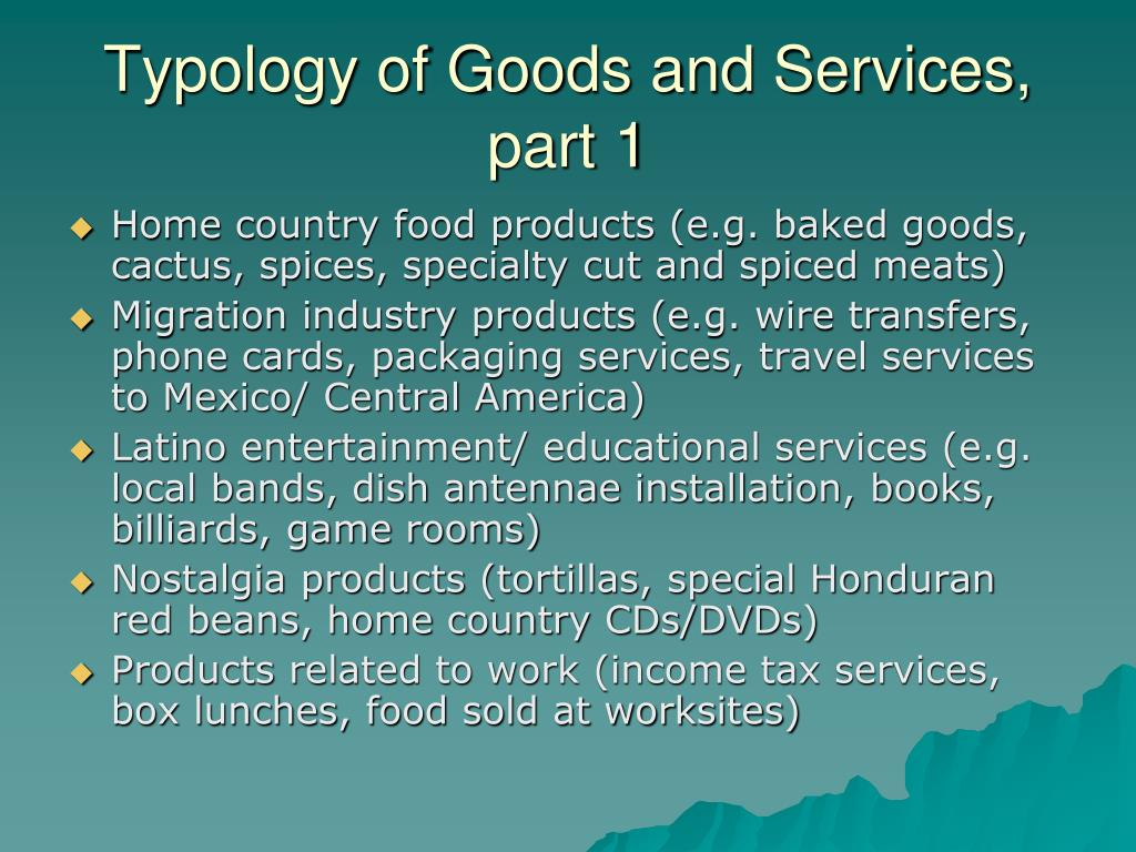 Typology of Goods and Services, part 1