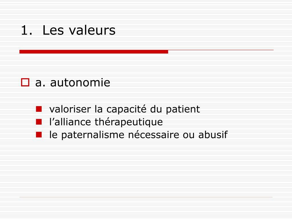 1.  Les valeurs